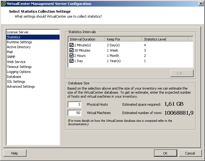 Altering statistics levels in VirtualCenter